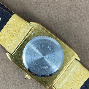 Vintage Accessories - Vintage Ladies Floral Enameled Gold Quartz Watch
